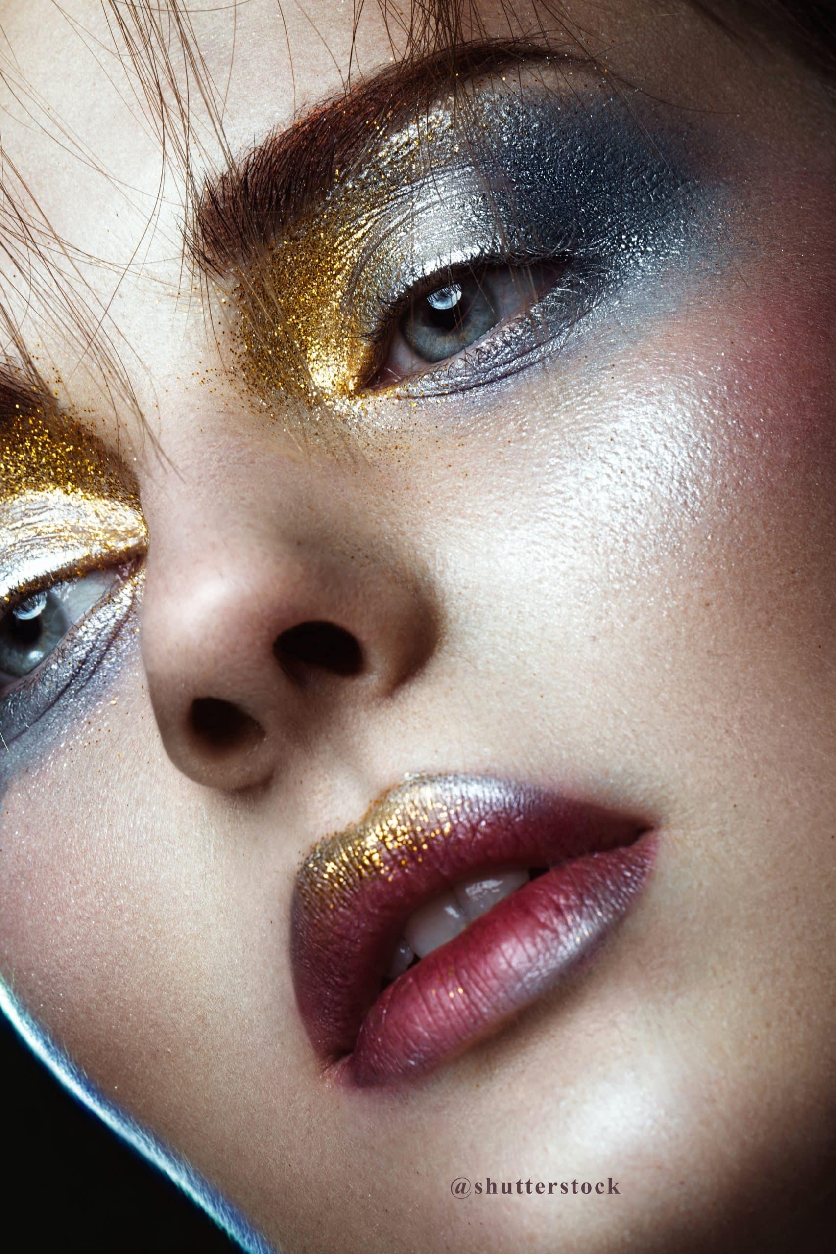 maquillaje glitter rostro @