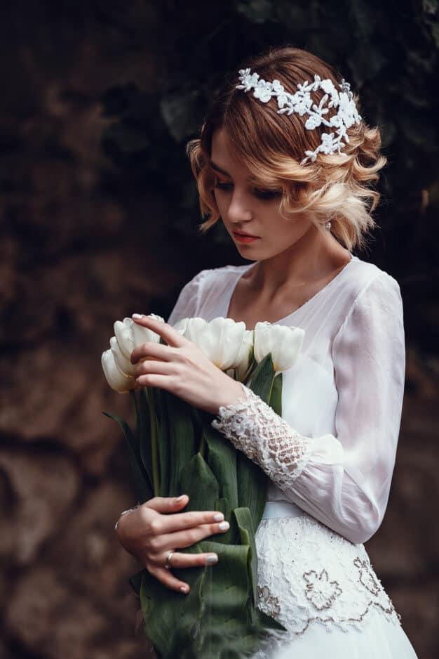 Tocado de novia y ramo